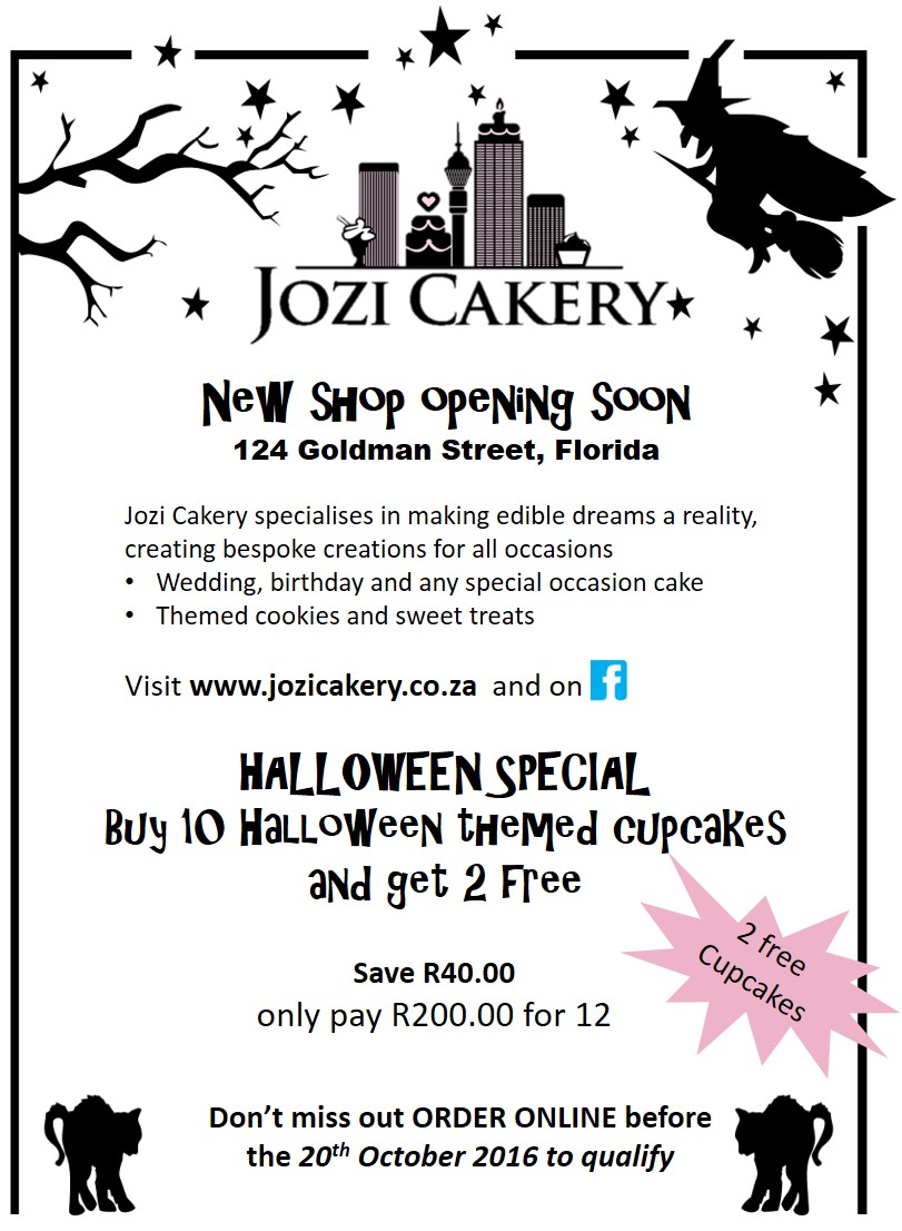 Get 10 Halloween-themed cupcakes and receive 2 FREE! Offer ends 20 October 2016. Contact us to place your order.